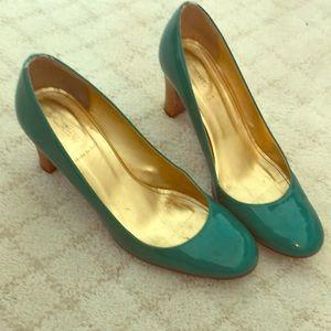 Jcrew teal patent leather heels!